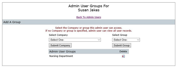 Admin User Groups