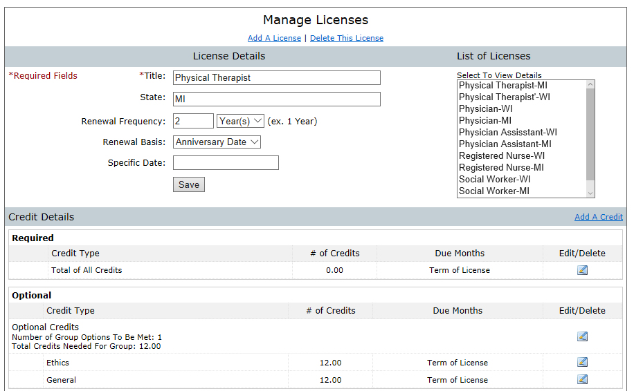 License and License Requirement Setup